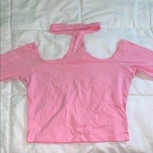 Pink off the shoulder , choker neck crop top